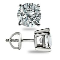 2.50CT ROUND EARRINGS 14K SOLID WHITE GOLD BASKET STUD BRILLIANT SCREW-BACK GIFT