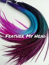 Feather Hair Extensions Rainbow Multi Color Medium Length 10 Pc Whiting Lot 7