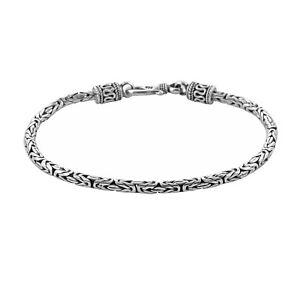 Bali Solid 925 Sterling Silver BYZANTINE Borobudur Chain Bracelet  - 2.5 mm