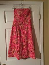 LILLY PULITZER Sabrina Dress Pink Sands ChaCha Size 6 Butterfly Strapless