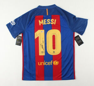 Lionel Messi Signed FC Barcelona NIKE On Field Jersey Inscribed Leo Beckett COA
