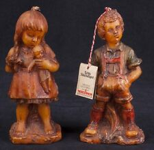 Vtg 80's Lechner German Boy & Girl Wax Candle Figurine Hand Sculpted Pair