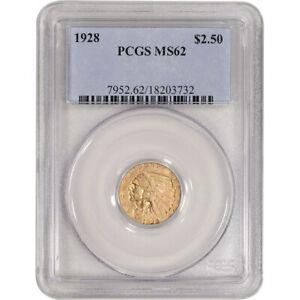 US Gold $2.50 Indian Head Quarter Eagle - PCGS MS62 - Random Date