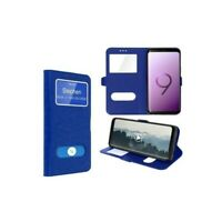 Coque pour Samsung Galaxy A20E Bleu, Etui Flip Cover Housse Double Fenetre