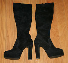 Women's Hanna Black Suede High Heel Platform Knee High Boots Size 7.5-8M? Canada