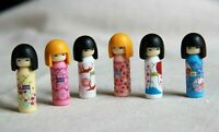 SET 6 MODEL IWAKO MADE JAPAN FIGURES KOKESHI JAPANESE WOODEN DOLLS ERASER GEISHA