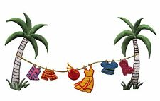 #3839 Tropical,Coconut Tree,Hang Clothes,Dress,Hap Embroidery Iron On Patch