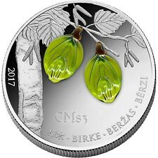 2017 SPRING BIRCH LEAF Snowflake Silver Coin.- 1000 Francs Guinea.