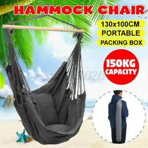 Portable Hammock Chair 130x100cm Chair Bed Outdoor Hanging Swing Sleeping 330lb