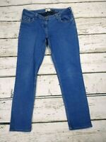 River Island Low Rise Cropped Straight Slim Blue Jeans Size 12