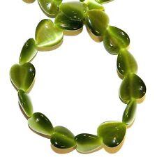 "G1436f Olive Green 12mm Puffed Flat Heart Cat's Eye Fiber Optic Glass Beads 14"""