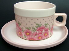 Hornsea Pottery Pink Passion Pattern 180ml Flat Tea or Coffee Cups & Saucers VGC