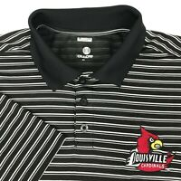Holloway Black White Striped Louisville Cardinals Rugby Golf Polo Shirt Mens L