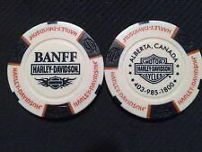 "Harley Davidson Poker Chip (White & Black) ""Banff"" Alberta, Canada"