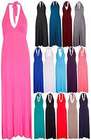 Womens New Tie Halter Neck Ladies Sleeveless Stretch Jersey Long Full Maxi Dress