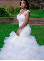 New Layered White/Ivory  Mermaid Beaded Wedding Dress Bridal Gown Size 6-16 UK