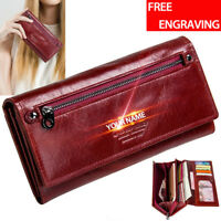 Women's Genuine Leather Long Wallet Ladies ID Card Holder RFID Blocking Purse