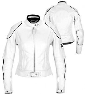 LADIES WHITE HORIZON WOMENS ARMOURED MOTORBIKE / MOTORCYCLE LEATHER JACKET