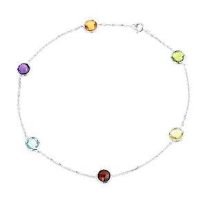 14K White Gold Round Gemstones Anklet 10.5 Inches