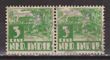 Indonesia Sumatra 18a OVERPRINT 821v pair used Japanse bezetting