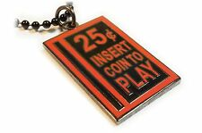 Quarter Slot Coin Retro Video Game Arcade Pinball Charm Pendant Necklace Chain