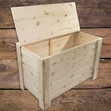 XLarge Wooden Storage Chest Toy Box Bedroom Trunk / Unpainted Pine To Decorate