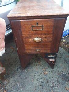 antique vintage wooden file cabinet draw storage