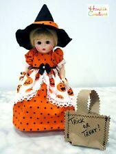 "New ListingMadame Alexander 8"" Ooak Halloween Pumpkin Doll Dress Hankie Couture Clothes"