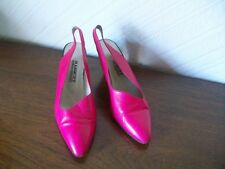 Cerise Slingback Leather Upper/Sole/Lining Shoes, Size 6, Marquet