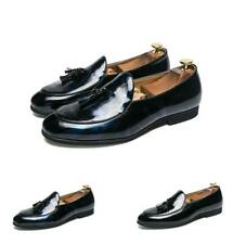 Men's Leather Pointy Toe Tassels Loafers Casual Wedding Nightclub Shiny Shoes Sz