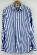 John W Nordstrom Mens 16.5 36 37 Long Sleeve Button Down Blue Striped 120s 2 Ply