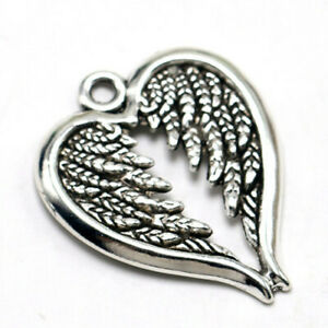 30pcs Angel Wing Heart Charms antique silver Tone Pendants Making 30x24mm