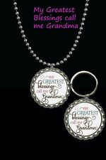 my greatest blessings call me Grandma keychain & necklace set great gift