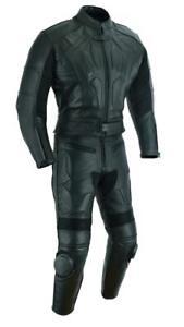 Mens Motorcycle Motorbike Genuine Leather CE Protectors Bikers Racing Suit