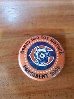 2008 President Barack Obama Chicago Bears Fan Campaign Pin Button Biden