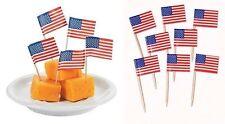 30 USA Sandwich Flag Picks Party Flag Food Cake Cocktail Sticks American Summer