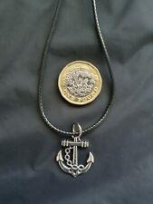 Sea Ship Captain Pirate Anchor Cord Necklace Tibetan Silver