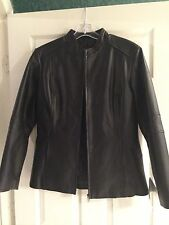 Excelled Collection Leather Front Zip Jacket - New With Tags - Black/Size Medium