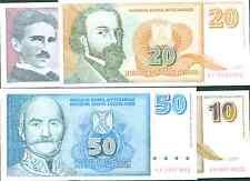 YUGOSLAVIA SET 4 NOTES UNC. P148-149-150-151.5-10-20-50 DINARA. VERY SCARCE. 4e