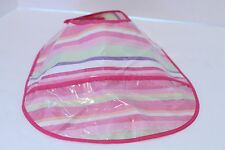 Pottery Barn Kids Pink Striped Stripe Baby Bib Plastic, Easy Wipe