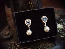Vintage Light Blue Sapphire Crystal Heart &  Pearl Drop Pierced Earrings