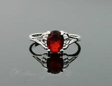 Garnet Red Love Heart Womens Girls Ladies Sterling Silver Plated Ring Sz 6.5