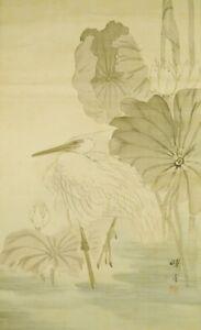 "JAPANESE PAINTING HANGING SCROLL 72.6"" Heron AGED OLD Antique Egret Japan c106"