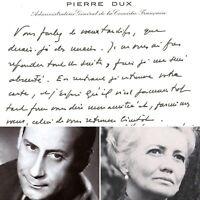 🌓 Pierre DUX Carte de voeux à la comédienne Louise CONTE 1975 Comédie Française