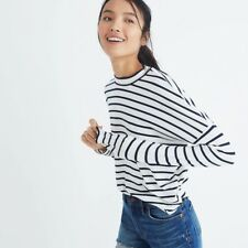 Madewell Long Sleeve Mockneck Top In Stripe - Navy & White Striped Tee - NWT
