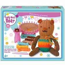 Children's facile à tricoter marron teddy réutilisable starter kit
