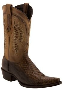 Mens Honey Brown Python Leather Cowboy Boots Snake Print Western Pointed Toe