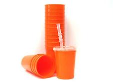 12 - Orange Plastic Glasses-Cups 12 Oz Lids & Straws Mfg USA Lead Free Durable