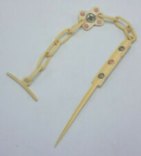 Vintage Celluloid Ponytail Hair Bun Slide With Chain