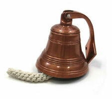 """Small Ship's Bell 5"""" Copper Finish Solid Aluminum Nautical Hanging Wall Decor"""